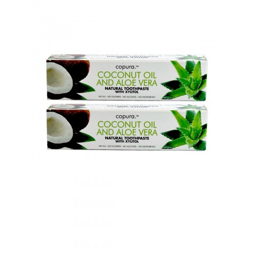 COPURA COCONUT OIL AND ALOE VERA NATURAL TOOTHPASTE WITH XYLITOL DOUBLE PACK (2X 100ML)