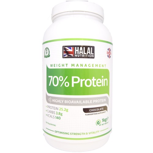 Halal Nutrition - 70% Protein Powder (Chocolate) - 1kg