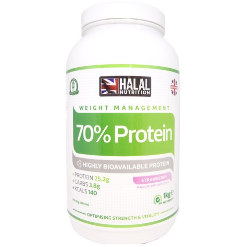 Halal Nutrition - 70% Protein Powder (Strawberry) - 1kg
